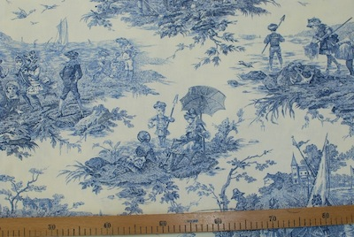 vente ameublement tissu toile de jouy bleu. Black Bedroom Furniture Sets. Home Design Ideas